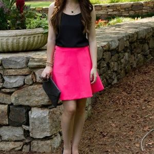 J. Crew Factory Hot Pink Fluted Double-Crepe Skirt